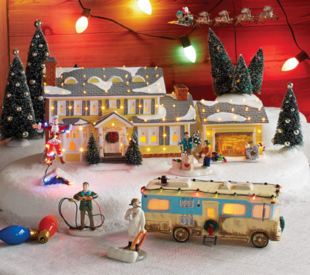 Collect all the pieces of this National Lampoon Christmas Vacation Village for the perfect Christmas decoation