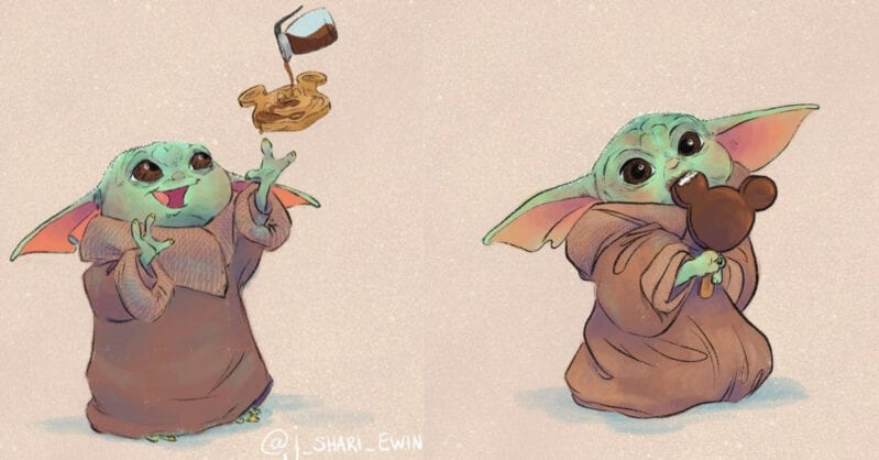 These Drawings Of Baby Yoda Eating Disney Snacks Is The Cutest Thing Ever