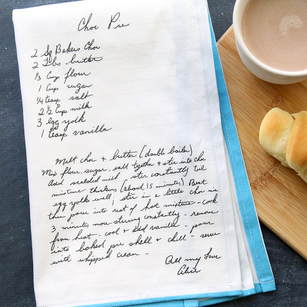 Handwritten Recipe on a Tea Towel